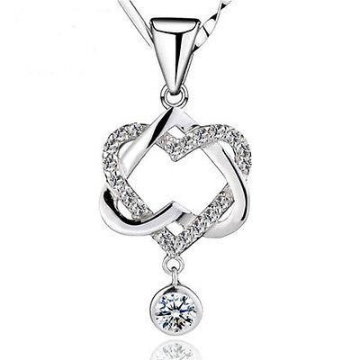 Design Charm Double Heart Pendant Crystal Rhinestone Necklace Designer Crystal Double Heart