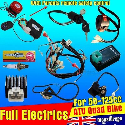 WIRING HARNESS CDI COIL KILL KEY SWITCH 50cc 110cc 125cc ATV QUAD BIKE REMOTE