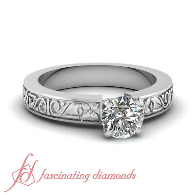 .70 Ct Round Cut Diamond Vintage Hand Engraved Solitaire Engagement Ring SI2 GIA