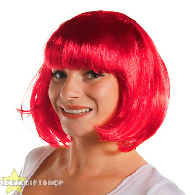 6 X BRIGHT PINK BOB WIG WITH FRINGE HEN PARTY PACK FANCY DRESS FASHION BABE HAIR (Bright Pink Wig)