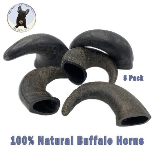 KDM Pet 5 Pack Small Buffalo Horn Long Lasting 100% Natural Dog Chews