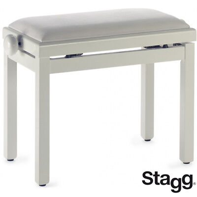 Used, NEW Stagg PB39-IVP-VWH Highgloss Oak Ivory Piano Bench with White Velvet Top for sale  La Vergne