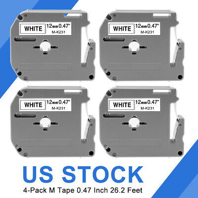 4pk Label Tape Brother P-touch Eqv. M231 M-k231 Mk231 12mm Black On White Us