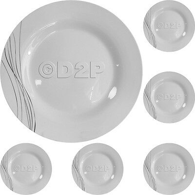 "SET OF 6 STRATA DESIGN PORCELAIN LARGE 10.5"" DINNER PLATE DISH GIFT PLATES"