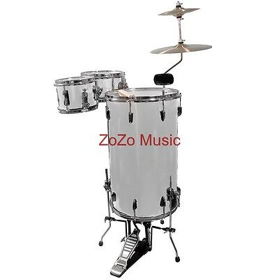 NEW GP PERCUSSION GP75 METALLIC SILVER COMPLETE COCKTAIL DRUM SET + SHIPS FREE