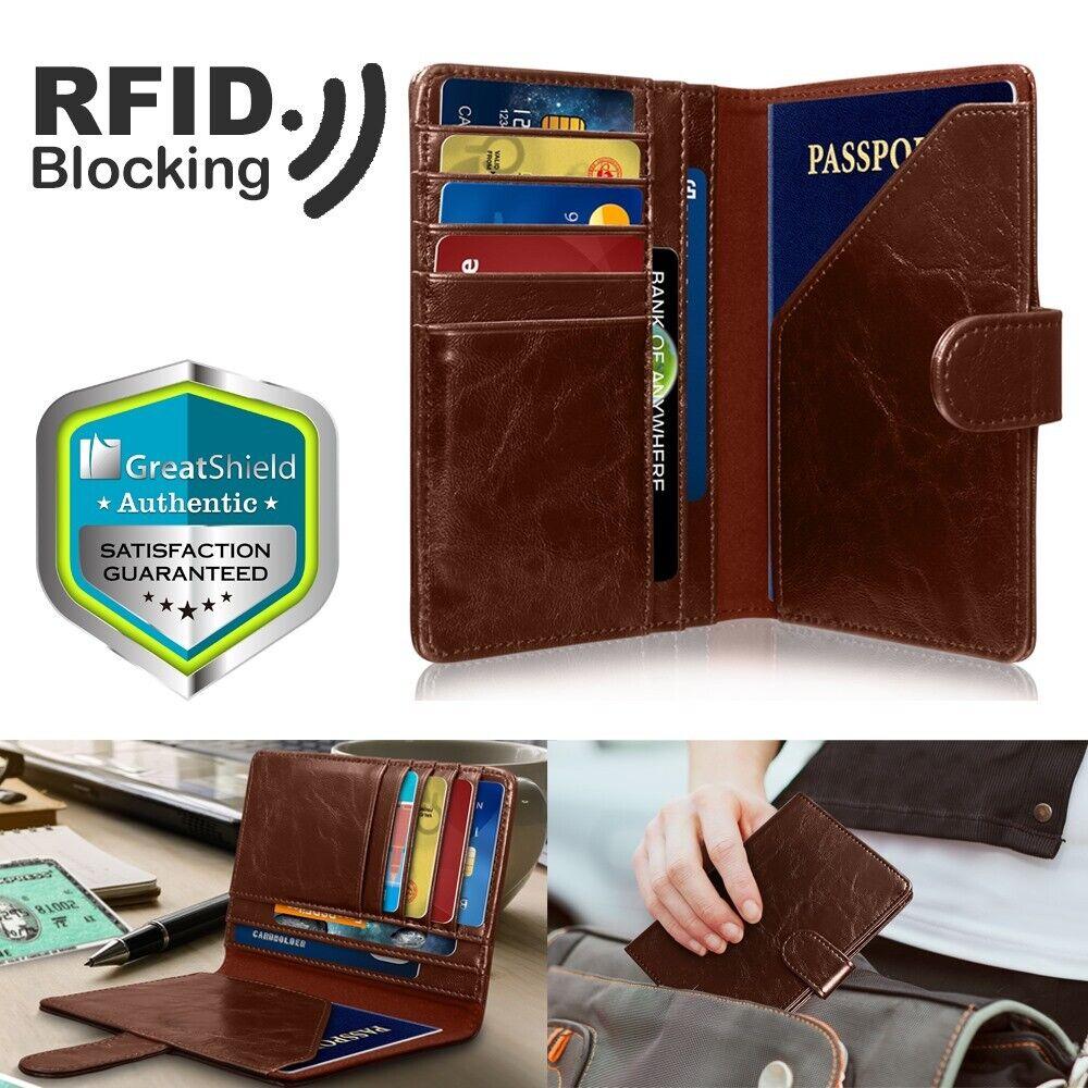 GreatShield RFID Blocking Leather 9 Slot Passport Card Holde
