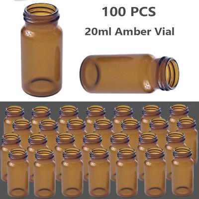 100pcs Set 20ml Autosampler Vials Amber Vial 24-400 Screw Top Glass Bottle Lab