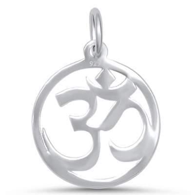 Plain Om Symbol  925 Sterling Silver Pendant