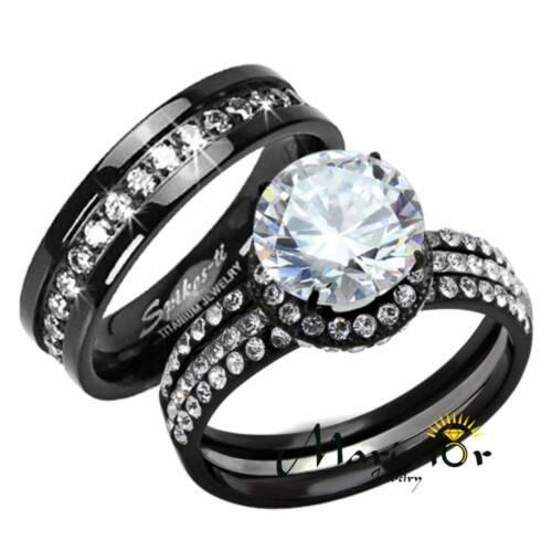 Hers & His 3 Pc Black Stainless Steel Titanium Wedding En...