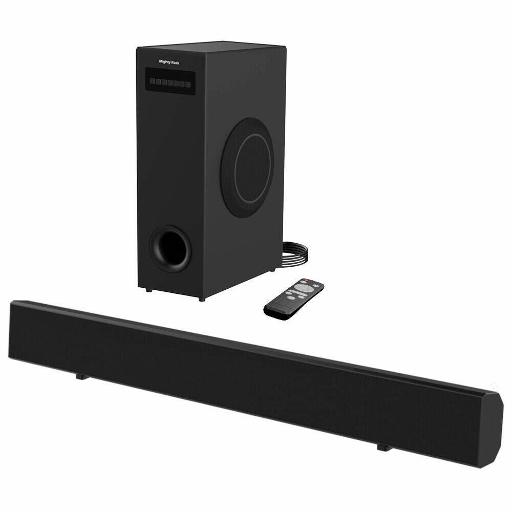 Meidong Sound Bar with Subwoofer, 2.1 Channel TV Soundbar Sy