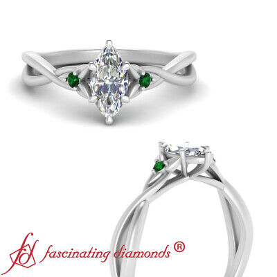 .45 Ct Marquise Cut Diamond Infinity Twist Engagement Ring With Emerald Gemstone