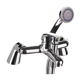 Chrome single lever bath shower mixer tap supplied with hose, handset and wall bracket deck mounted