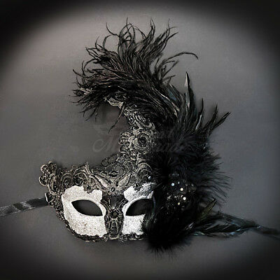 Womens Brocade Lace Ostrich Feather Venetian Masquerade Mask [Black/Silver] - Black Feather Masquerade Mask