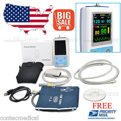 Best NEW FDA CE PM50 PORTABLE PATIENT MONITOR VITAL SIGNS NIBP SPO2 PULSE RATE METER,USA