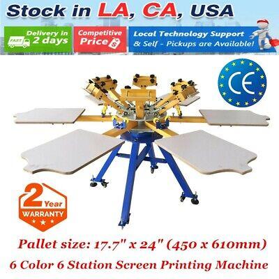 Usa 6 Color 6 Station Screen Printing Machine Press Diy T-shirt Printer Carousel