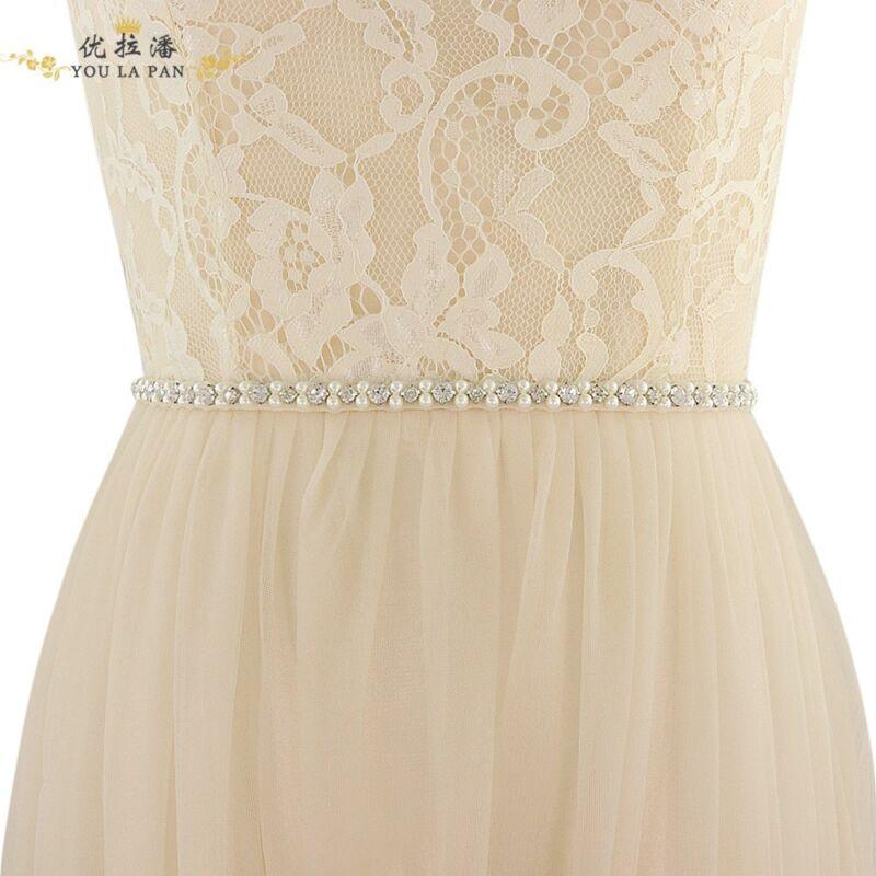 Handmade Thin Crystal Pearl Bridal Sash Rhinestone Wedding Belt Bridesmaids Belt