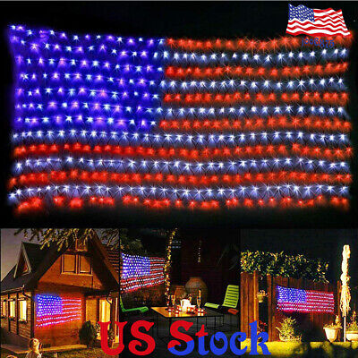 Hanging American Flag LED String Light Net Timer Function Festival Outdoor Decor](Halloween Kitchen Timer)