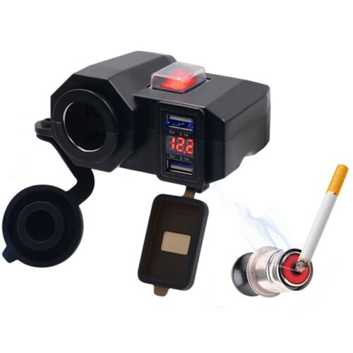 12V Dual USB Motorcycle Cigarette Lighter Waterproof Power Port Outlet Socket US Car Electronics Accessories