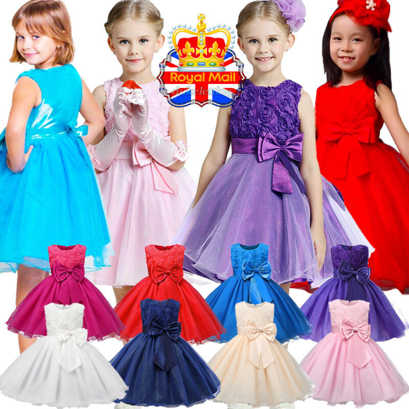 Kids Baby Flower Girl Dress Princess Formal Communion Party Wedding Bridesmaid
