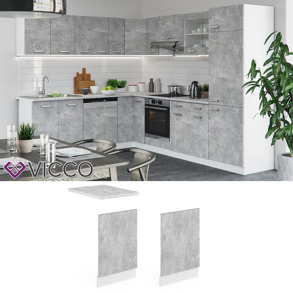 VICCO Küchenschrank Hängeschrank Unterschrank Küchenzeile R-Line Geschirrspülerblende 45 cm beton