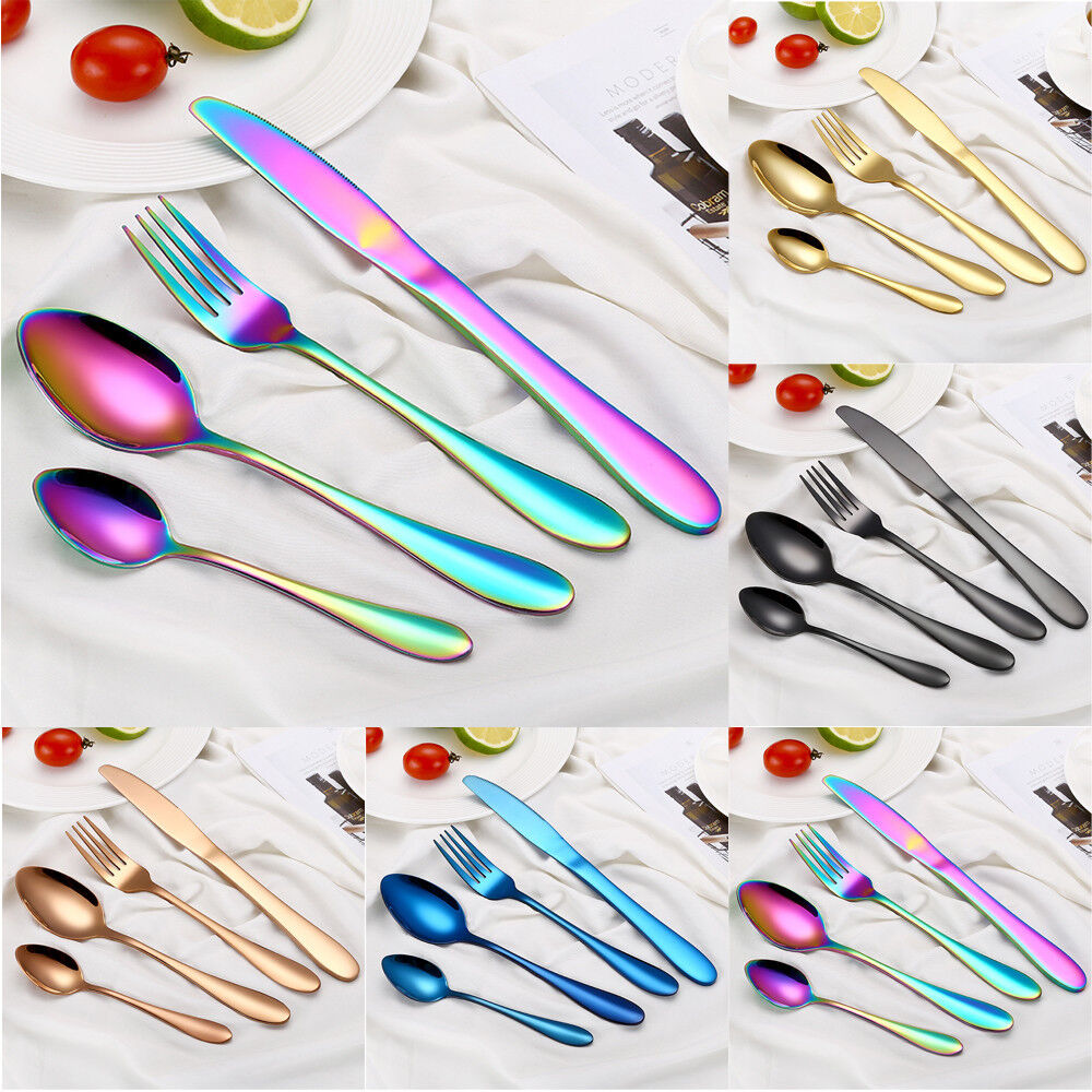 4PCS Set Stainless Steel Upscale Dinnerware Flatware Cutlery Fork Spoon Teaspoon