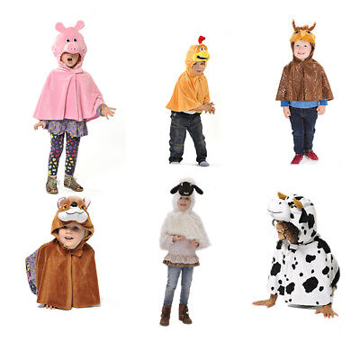 KIDS CHILDS GIRLS BOYS FARM ANIMAL WILD BIRD FANCY DRESS CAPE COSTUME AGE 3-6