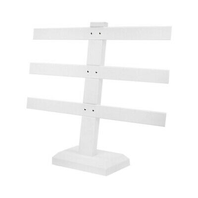 Display White Faux Leather 3 Bars Earring Jewelry Display Stand 10 X 9