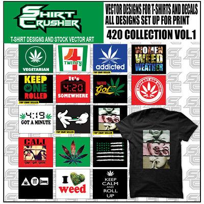 420 Vol.1 T- Shirt Vector Clip Art Svg Eps Dxf Ai Png- Dtg Viynl Screen Print