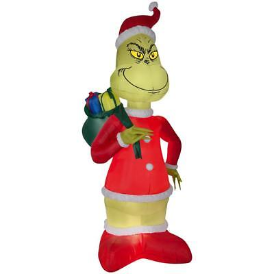 8 Ft Grinch in Santa Suit w Sack Inflatable Christmas Blow Up Yard Decor Lighted - Grinch Blow Up