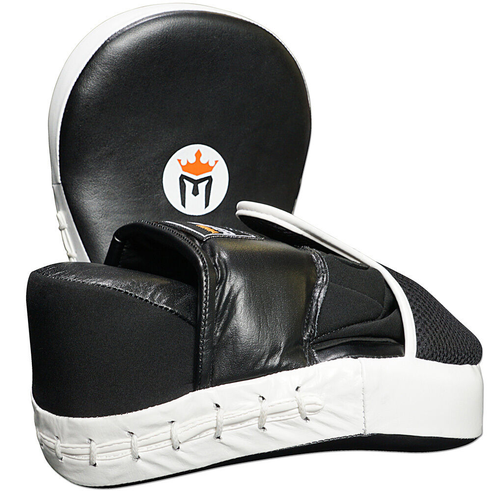 как выглядит Товар для боевых искусств LEATHER FOCUS MITTS w/ WRIST SUPPORT (PAIR) - CURVED Meister MMA Boxing Pads NEW фото