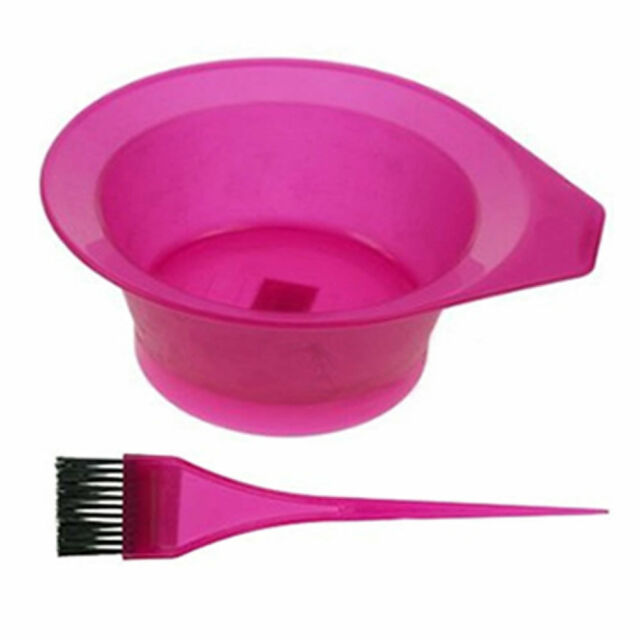 Hair Colouring Tint Mix Bowl with Brush, Pink Blue and Yellow