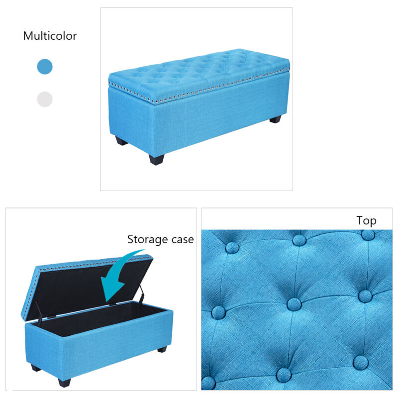 """41"""" Storage Ottoman Lift Top Footstool Stool Footrest Bench Seat Linen Tufted"""