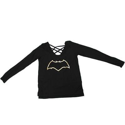 Batman Womens Shirt (Womens Juniors Black Batman Lace Long Sleeve Tee)