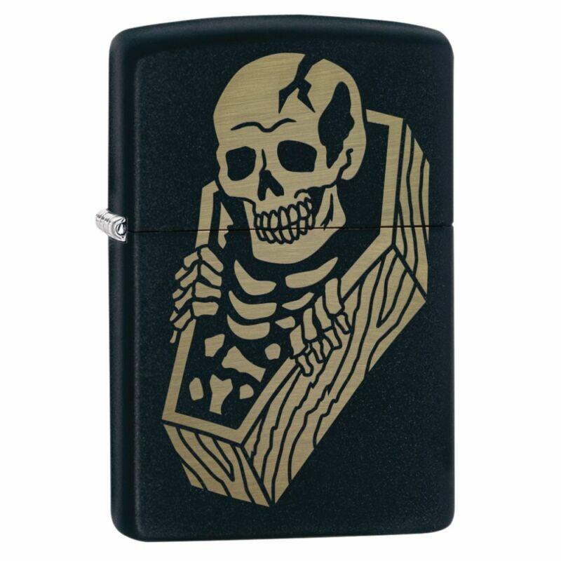 Zippo Skeleton Coffin Design Black Matte Lighter, 218-084671