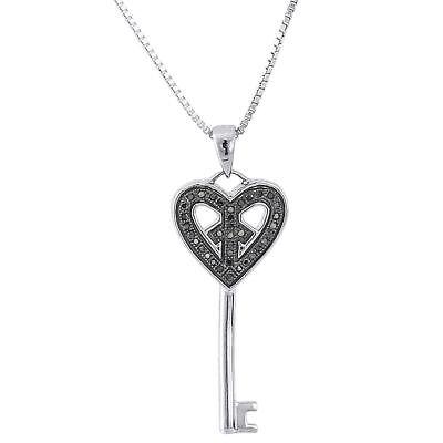 .925 Sterling Silver Black Diamond Ladies Key Pendant w/ 18
