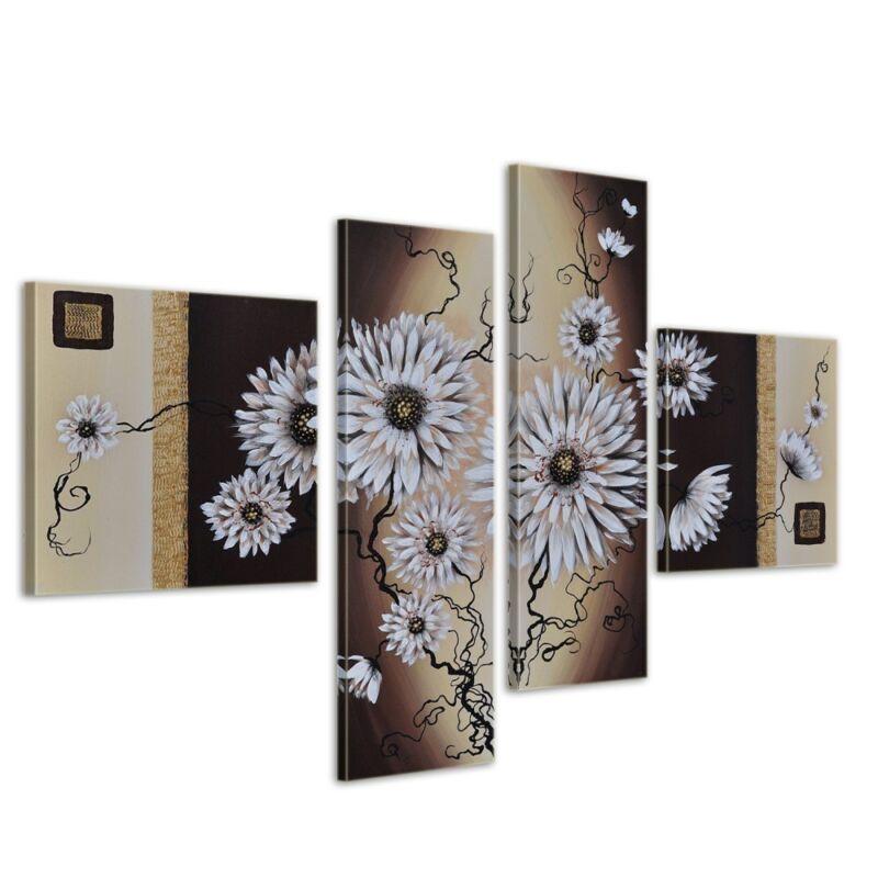 Blumen+M2+-+Leinwandbild+4+teilig+100x70cm+Handgemalt