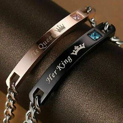 His Queen Her King Stainless Steel His and Hers Couple Bracelet Lovers Gift Bracelets