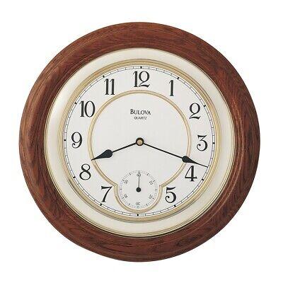 Bulova William Solid Oak Wood Wall Clock C4596