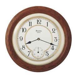Bulova William Solid Oak Wood Wall Clock C4596