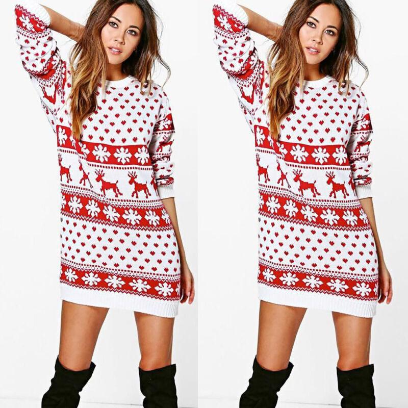 Women Xmas Christmas Print Long Sleeve Mini Dress Snowflake knit skirt Top skirt