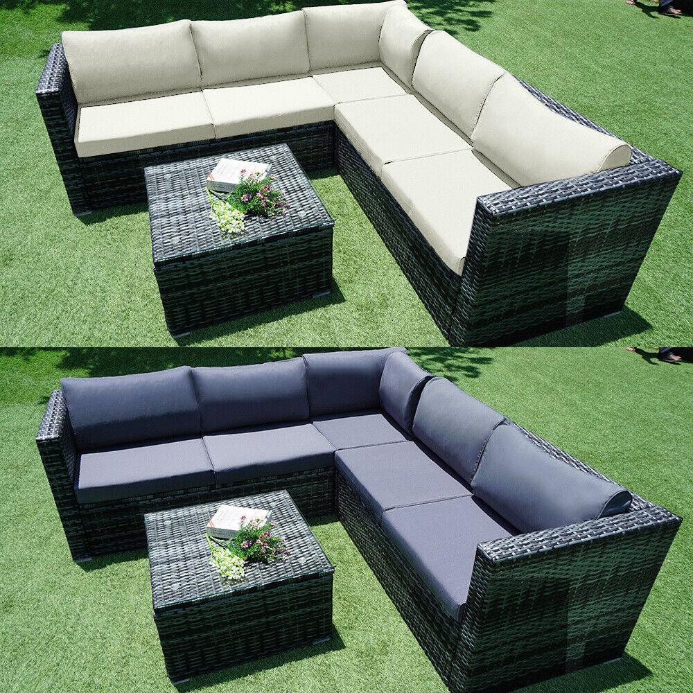 Garden Furniture - 6 Seater Rattan Garden Corner Sofa Table Chair Furniture Set Outdoor Lounge
