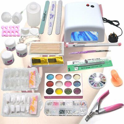 Pro Acrylic Powder Glitter Nail Art Nail File False Tips Kit Set UV Lamp Light