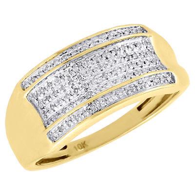 Diamond Wedding Band Mens 10K Yellow Gold Round Cut Pave Fashion Ring 0.14 Ct. ()