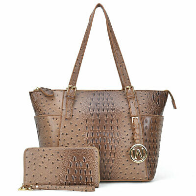 Women Faux Leather Ostrich Embossed Tote with Matching wallet