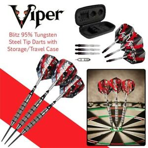 NEW Viper Blitz 95% Tungsten Steel Tip Darts with Storage/Travel Case, 26 Grams Condtion: New open box, 26 Grams