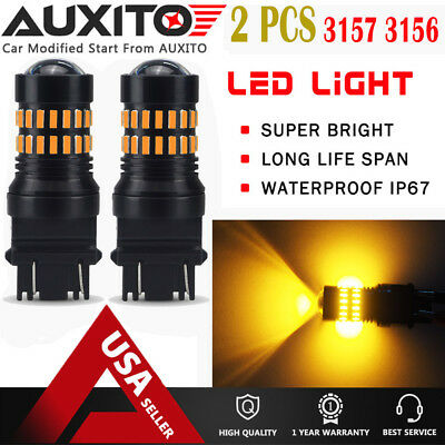 2X AUXITO 3157 4157 4057 LED Amber Yellow Turn Signal Blinker Corner Light bulb for sale  USA