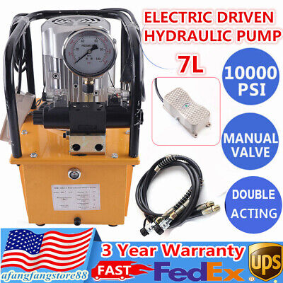 7l Electric Hydraulic Pump Double Acting Pedalmanual Solenoid Valve 10000psi Us