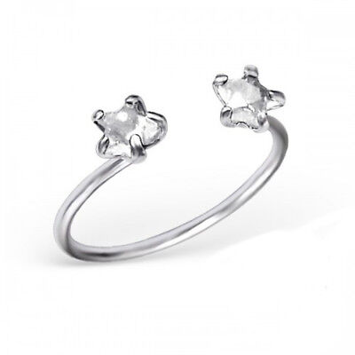 White CZ Crystal Star Sterling Silver Adjustable Toe Ring Crystal Star Toe Ring
