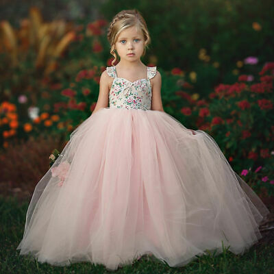 Kids Party Outfit (Kid Toddler Baby Girls Sleeveless Dress Party Princess Floral Sundress Outfit)