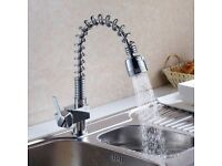 Chrome Brushed Steel Faucet Kitchen Tap Fashion Swivel Pull Out Spray Mixer